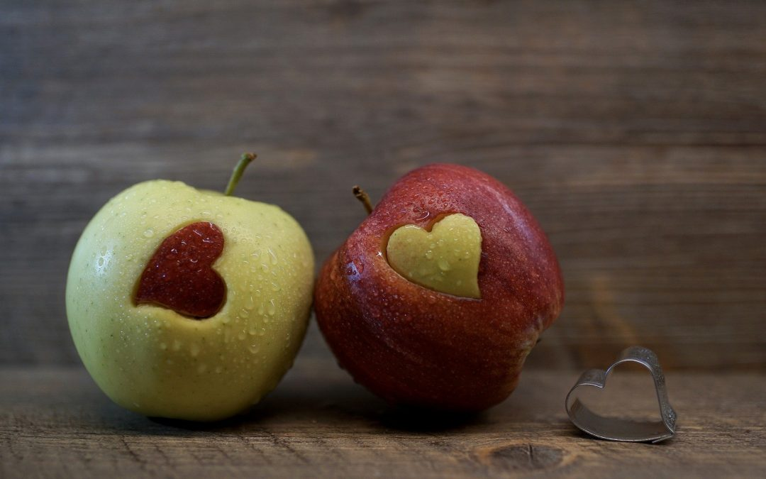 apples with heart cutout